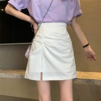 skirt Summer 2021 S,M,L White, black Short skirt commute High waist A-line skirt Solid color 18-24 years old 51080H 51% (inclusive) - 70% (inclusive) polyester fiber Korean version