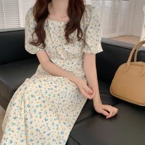 Dress Spring 2021 Picture color Average size Mid length dress singleton  Short sleeve commute High waist A-line skirt puff sleeve Others 18-24 years old Type A Korean version 6497F 51% (inclusive) - 70% (inclusive) polyester fiber