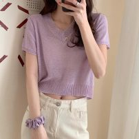 Wool knitwear Summer 2021 Average size Rose, green, lavender, orange, cream Short sleeve singleton  Socket Viscose 71% (inclusive) - 80% (inclusive) have cash less than that is registered in the accounts routine commute easy V-neck routine Solid color Socket Korean version 813F 18-24 years old