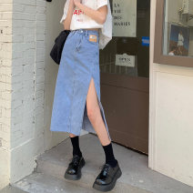 skirt Summer 2021 S,M,L,XL Blue, black Mid length dress commute High waist Denim skirt Solid color Type A 18-24 years old 51% (inclusive) - 70% (inclusive) cotton Korean version