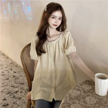 shirt Apricot, white Average size Summer 2021 polyester fiber 51% (inclusive) - 70% (inclusive) Short sleeve commute Medium length square neck Single row multi button puff sleeve Solid color 18-24 years old Straight cylinder Korean version 6521X Button