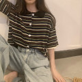 T-shirt Black stripe, apricot stripe, purple stripe Average size Summer 2021 Short sleeve Polo collar easy have cash less than that is registered in the accounts routine commute cotton 51% (inclusive) - 70% (inclusive) 18-24 years old Korean version 5210F