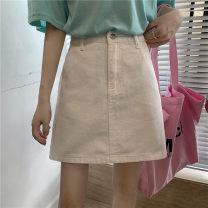 skirt Spring 2021 S,M,L,XL White, purple, black Short skirt commute A-line skirt Solid color Denim Pocket, button, zipper Korean version