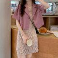 Fashion suit Summer 2021 Average size Pink coat, haze blue coat, pink suspender skirt, haze blue suspender skirt 18-25 years old 139M 51% (inclusive) - 70% (inclusive) polyester fiber