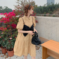 Dress Summer 2021 BLACK BOW STRAP vest, white dress, khaki dress, black dress Average size Short skirt singleton  Short sleeve commute Polo collar Loose waist Solid color A-line skirt routine Others 18-24 years old Type A Korean version 6162F 51% (inclusive) - 70% (inclusive) polyester fiber