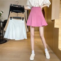 skirt Summer 2021 S,M,L Khaki, white, black, pink Short skirt commute High waist A-line skirt Solid color Type A 18-24 years old 6632H 81% (inclusive) - 90% (inclusive) polyester fiber Korean version
