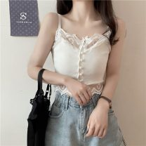 Vest sling Summer 2021 White, black Average size singleton  have cash less than that is registered in the accounts Self cultivation commute camisole Solid color 18-24 years old 71% (inclusive) - 80% (inclusive) polyester fiber 949H Lace