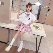 suit Condom Expression of love 8 years old Tagkita / she and others lattice Thin money There are models in the real shooting Short sleeve + skirt summer Cotton 100% Korean version female nothing cotton Blue, pink 110cm,120cm,130cm,140cm,150cm,160cm