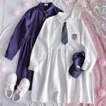 Dress Autumn 2020 Blue, white Single code Middle-skirt singleton  Long sleeves Sweet Polo collar High waist routine More than 95% cotton college
