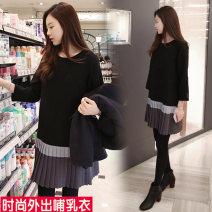 Nursing clothes black M,L,XL,2XL,3XL Other / other Socket spring and autumn Nine point sleeve Medium length Korean version Dress Lift up