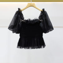 Lace / Chiffon Summer 2021 Short sleeve street Cardigan Self cultivation have cash less than that is registered in the accounts square neck puff sleeve 25-29 years old AIVEI N0360130 bow black XL-10,L-8,M-6,S-4