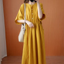 Dress Summer 2020 yellow Average size longuette singleton  Short sleeve commute Crew neck High waist Solid color Socket A-line skirt Bat sleeve Type A Other / other literature Pleats, stitches, buttons 31% (inclusive) - 50% (inclusive) hemp