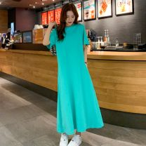 Dress Summer 2021 Dark grey, green, black L,XL,2XL,3XL longuette singleton  Short sleeve Sweet Crew neck Loose waist Solid color A-line skirt routine 25-29 years old Type A More than 95% other cotton