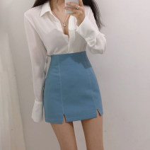 skirt Summer 2020 XS,S,M,L,XL Apricot, blue, black, white Short skirt Versatile High waist A-line skirt Solid color Type A 18-24 years old XYJ-05 Other / other Zipper, decorative thread, split