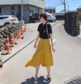 skirt Spring 2021 M,S,L yellow commute High waist Umbrella skirt Solid color Type A 51% (inclusive) - 70% (inclusive) other Other / other other