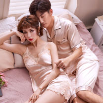 Pajamas / housewear set lovers Other / other other Short sleeve Sweet pajamas summer Thin money shorts youth 2 pieces rubber string 81% (inclusive) - 95% (inclusive) silk Middle-skirt