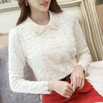 Lace / Chiffon Winter of 2019 White and apricot S,M,L,XL,2XL,3XL Long sleeves commute Cardigan singleton  Self cultivation Doll Collar Solid color routine 18-24 years old Korean version 91% (inclusive) - 95% (inclusive) polyester fiber