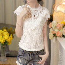 Lace / Chiffon Summer 2017 white M,L,XL,2XL Sleeveless street Socket singleton  Self cultivation Regular stand collar Solid color routine 25-29 years old Hollow out, embroidery, Gouhua, hollow out, stitching, buttons, mesh, lace Europe and America