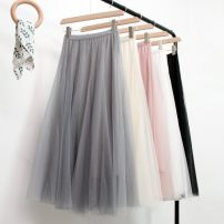 skirt Spring 2021 Average size Gray, white, black, beige, pink longuette commute High waist Pleated skirt Solid color Type A 18-24 years old Chiffon polyester fiber Gauze