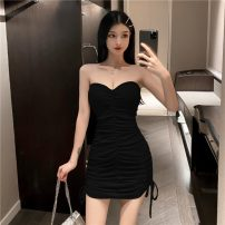 Dress Summer 2021 Khaki, grey, black S,M,L Short skirt singleton  Sleeveless commute One word collar High waist Solid color Socket One pace skirt Breast wrapping 18-24 years old Type H Korean version Bow, open back, fold, lace, bandage 81% (inclusive) - 90% (inclusive) cotton