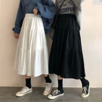 skirt Autumn of 2019 Average size White, black Mid length dress commute High waist Cake skirt Solid color Type A 18-24 years old Korean version