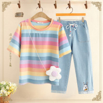 suit Other / other Pink top + light blue pants, pink top + dark blue pants, pink top, light blue pants, dark blue pants Average size, s (about 75-85 Jin recommended), m (about 85-95 Jin recommended), l (about 95-110 Jin recommended), XL (about 110-120 Jin recommended) female summer solar system other