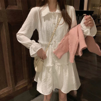 Dress Autumn 2020 White dress S,M,L Short skirt singleton  Long sleeves commute square neck High waist Solid color Single breasted A-line skirt pagoda sleeve Type A Korean version