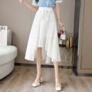 skirt Summer 2021 S,M,L,XL White, black Mid length dress Versatile High waist Irregular Solid color Type A 91% (inclusive) - 95% (inclusive) Asymmetry