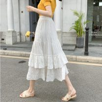 skirt Summer 2021 S,M,L,XL White, black longuette Versatile High waist Cake skirt Solid color Type A 25-29 years old cotton
