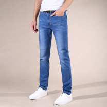 Jeans Youth fashion Wolf rhinoceros 28 29 30 31 32 33 34 35 36 38 40 42 44 Light blue thin medium blue thin black thin 016 light blue 926 light blue Thin money Super high elasticity Cotton elastic denim LKXN018 trousers summer youth middle-waisted Fitting straight tube Business Casual 2016 zipper