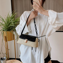 Bag The single shoulder bag PU Small square bag Black, white, yellow, purple brand new Japan and South Korea Small leisure time soft Buckle no Solid color Single root One shoulder hand nothing youth Horizontal square weave Soft handle soft surface Bag with cover