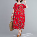 Dress Summer 2021 Red, green L,XL longuette singleton  Short sleeve commute Crew neck Loose waist Decor Socket A-line skirt routine 40-49 years old Type A literature printing 31% (inclusive) - 50% (inclusive) cotton