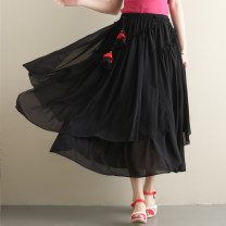 skirt Summer of 2019 Big size average Red, black Mid length dress commute Natural waist A-line skirt Solid color Type H 31% (inclusive) - 50% (inclusive) Chiffon Other / other ethnic style