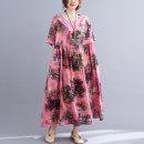 Dress Summer 2021 Pink flowers Average size [100-170 kg] longuette singleton  Short sleeve commute Crew neck Loose waist Socket Big swing routine Others literature 51% (inclusive) - 70% (inclusive) cotton