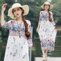 Dress Summer of 2019 White, green, blue M,L,XL,2XL Mid length dress singleton  three quarter sleeve commute Crew neck Loose waist Decor Socket A-line skirt routine Others Type H Other / other ethnic style printing 31% (inclusive) - 50% (inclusive) cotton