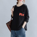 Women's large Spring 2021 Orange, dark grey, yellow, black L [100-130 kg], XL [130-160 kg] Sweater / sweater singleton  commute easy moderate Socket Long sleeves Solid color literature Crew neck routine pocket 71% (inclusive) - 80% (inclusive)