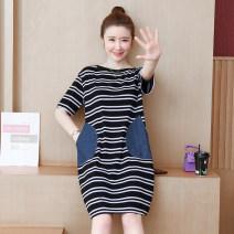Dress Summer 2021 Picture color L [90-110 Jin], XL [110-125 Jin], 2XL [125-140 Jin], 3XL [140-155 Jin], 4XL [155-170 Jin], 5XL [170-185 Jin] Mid length dress singleton  Short sleeve commute Crew neck Loose waist Socket A-line skirt routine Others Type A Korean version Splicing cotton
