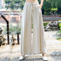 Casual pants Green, black, off white, linen, embroidered red Average size Summer of 2018 trousers Wide leg pants Natural waist commute Thin money 51% (inclusive) - 70% (inclusive) ethnic style pocket hemp