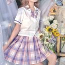 skirt Spring 2021 XS,S,M,L,XL Skirt length 42cm with tie, skirt length 42cm with tie, skirt length 45cm with tie, skirt length 45cm with tie, skirt length 48CM with tie, skirt length 48CM with tie Short skirt Versatile Natural waist Pleated skirt lattice Type A 18-24 years old More than 95% knitting