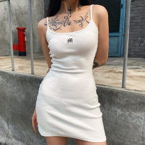 Dress Summer 2020 White, black S,M,L Short skirt singleton  Sleeveless street Crew neck middle-waisted Solid color Socket One pace skirt routine camisole Type H Open back, embroidery, lace up, stitching C15001 91% (inclusive) - 95% (inclusive) other polyester fiber Europe and America