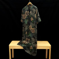 Dress Summer 2021 Average size Mid length dress singleton  Short sleeve commute stand collar Loose waist Big flower Socket A-line skirt routine Others 30-34 years old Type H Retro Print, button LQA068 More than 95% silk