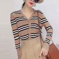Wool knitwear Spring 2021 2 = s, 3 = m, 4 = L, 5 = XL khaki Long sleeves singleton  Cardigan other 71% (inclusive) - 80% (inclusive) Regular Thin money commute easy V-neck routine stripe Single breasted Britain 5499074-4T03611-001 30-34 years old O'amash banner Button