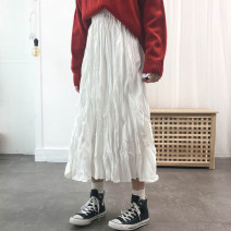 skirt Spring 2021 Average size White [length 80 cm], black [length 80 cm], white [length 74 cm], black [length 74 cm] longuette commute High waist Pleated skirt Solid color Type A 18-24 years old brocade Other / other cotton fold Korean version