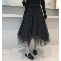 skirt Autumn of 2019 S,M,L black Mid length dress grace High waist Fluffy skirt Solid color Type A 18-24 years old 51% (inclusive) - 70% (inclusive) other Cellulose acetate Gauze