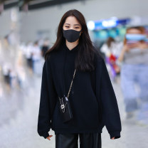 Women's large Winter 2020, autumn 2020 Black (Unisex without velvet), black (Unisex with velvet) Large XL, large XXL, s, m, l Sweater / sweater singleton  commute easy moderate Socket Long sleeves Solid color Korean version Hood routine cotton Three dimensional cutting routine pocket