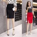skirt Spring 2020 S,M,L,XL,2XL Black, red Short skirt commute High waist skirt Solid color Ol style