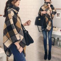 woolen coat Winter of 2018 S. M, l, XL, 2XL, XXXs pre-sale Picture color Cashmere 31% (inclusive) - 50% (inclusive) Medium length Sleeveless commute Polo collar lattice Cape type Korean version Other / other 18-24 years old