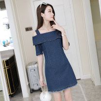 Dress Spring of 2019 blue S. M, l, XL, 2XL, 3XL, XXXs pre-sale Middle-skirt singleton  Short sleeve commute other middle-waisted Solid color zipper A-line skirt routine Others Other / other Korean version tassels 51% (inclusive) - 70% (inclusive) Denim cotton
