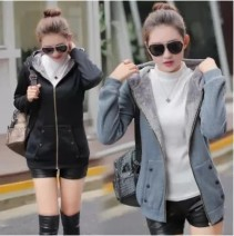 Sweater / sweater Autumn of 2019 S,M,L,XL,2XL,3XL,4XL Long sleeves Medium length Cardigan singleton  Plush Crew neck easy commute routine Solid color 18-24 years old 31% (inclusive) - 50% (inclusive) Other / other Korean version polyester fiber polyester fiber Intradermal bile duct zipper