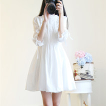 Dress Summer of 2019 White [high quality fabric] S. M, l, XL, XXXs pre-sale Short skirt singleton  Short sleeve Sweet Crew neck middle-waisted Solid color Socket Princess Dress routine 18-24 years old Type A Other / other 71% (inclusive) - 80% (inclusive) brocade cotton Mori